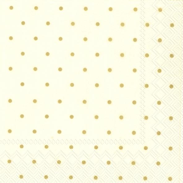 Servietten 25x25 cm - FINE DOTS creme gold