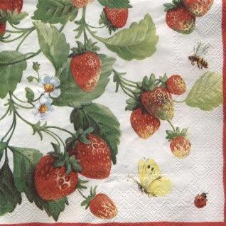 20 Servietten - 33 x 33 cm FRESH STRAWBERRIES white pearl          ,  Früchte - Erdbeeren,  Everyday,  lunchservietten,  Erdbeeren