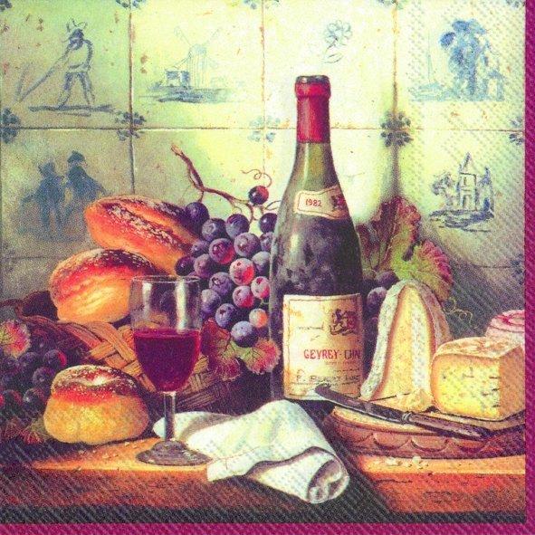 Lunch Servietten Wine and Cheese red,  Getränke - Wein / Sekt,  Essen - Käse,  Everyday,  lunchservietten,  Wein,  Käse