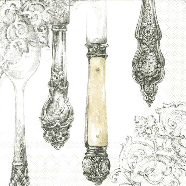 Serviettes lunch Cutlery white silver