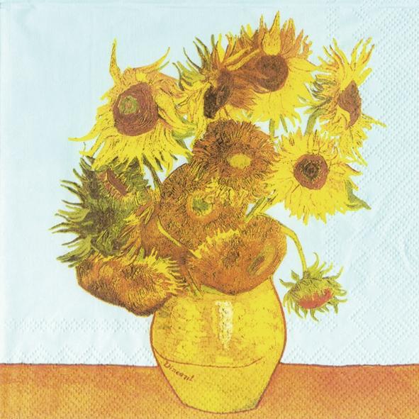 Lunch Servietten VAN GOGH : SUNFLOWERS,  Sonstiges - Bilder / Gemälde,  Blumen - Sonnenblumen,  Everyday,  lunchservietten,  Sonnenblume