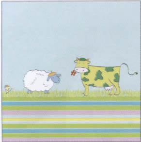 Villeroy & Boch, Tiere - Kühe,  Tiere - Schafe,  Sonstiges - Zeichenrick,  Everyday,  lunchservietten,  Schafe,  Kühe