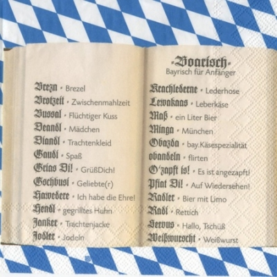 20 Servietten - 33 x 33 cm BOARISCH                                ,  Regionen -  Sonstige,  Sonstiges - Schriften,  Sonstiges - Muster,  Everyday,  lunchservietten,  Bayern