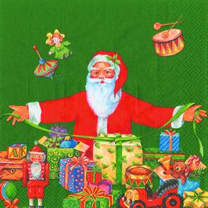 Lunch Servietten Santa at Work green,  Weihnachten - Geschenke,  Weihnachten - Weihnachtsmann,  lunchservietten