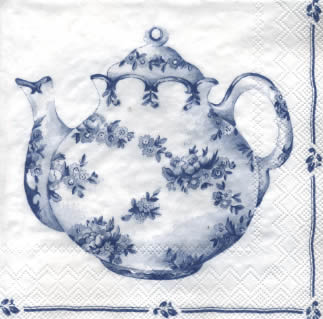 20 Servietten - 33 x 33 cm TEA FOR TWO white blue                  ,  Getränke Kaffee / Tee,  Everyday,  lunchservietten