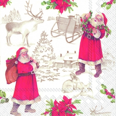 Weihnachten, Winter - Schlitten,  Weihnachten - Weihnachtsmann,  Weihnachten,  lunchservietten,  Weihnachtsmann,  Schlitten,  Hirsch