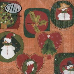 Lunch Servietten SEASONS SYMBOLS orange,  Winter - Schneemänner,  Pflanzen - Ilex,  lunchservietten,  Schneemänner,  Zweige,  orange