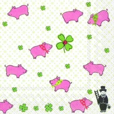 Taschentücher / Jahreszeiten,  Tiere -  Sonstige,  Everyday,  lunchservietten,  Schwein,  Schornsteinfeger,  Glück