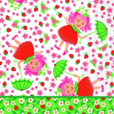Lunch Servietten Elina Erdbeere,  Früchte - Erdbeeren,  Menschen - Kinder,  Blumen -  Sonstige,  Everyday,  lunchservietten,  Blumen,  Erdbeeren,  Kinder