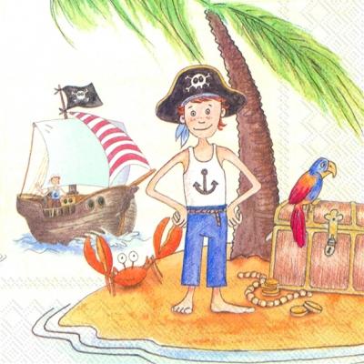 Servietten Südsee,  Regionen - Strand / Meer - Schiffe,  Regionen - Südsee,  Menschen - Kinder,  Everyday,  lunchservietten,  Pirat,  Schiff,  Krebse