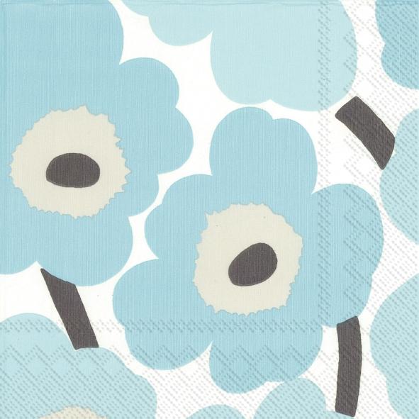 Lunch Servietten UNIKKO turquoise,  Blumen -  Sonstige,  Everyday,  lunchservietten,  Blumen