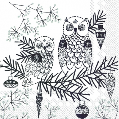 Lunch Servietten OWL ORNAMENT white black