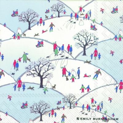 Lunch Servietten SNOWY HILL,  Sonstiges - Bilder / Gemälde,  Weihnachten,  lunchservietten,  Winterlandschaft