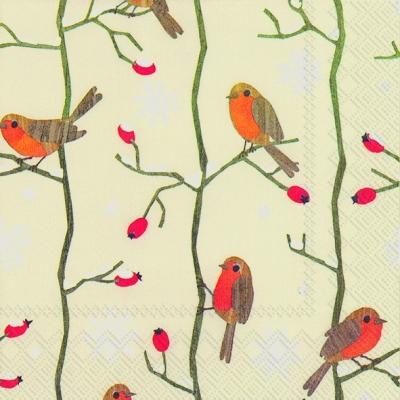Lunch Servietten LITTLE RED ROBINS cream,  Tiere - Vögel,  Weihnachten,  lunchservietten,  Vögel,  Hagebutten