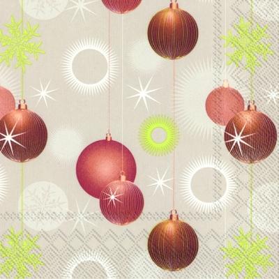 Lunch Servietten GLITTER BALLS linen,  Weihnachten - Baumschmuck,  lunchservietten,  Baumkugeln