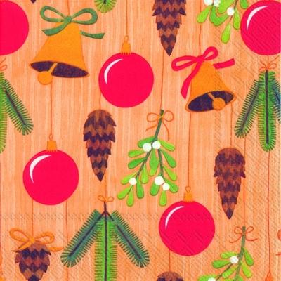 Lunch Servietten BELLS, BALLS A. CONES cinnamon, Weihnachten - Glocken,  Weihnachten - Baumschmuck,  Früchte - Zapfen,  lunchservietten,  Baumkugeln,  Tannenzweige,  Glocken,  Mistel