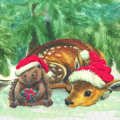 Lunch Servietten TWO BOBBLE HATS, Tiere - Reh / Hirsch,  Tiere - Igel,  Regionen - Wald / Wiesen,  Weihnachten,  lunchservietten,  Rehkitz,  Igel