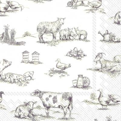 Lunch Servietten FARM FAMILY white brown,  Tiere - Vögel,  Tiere - Schafe,  Tiere - Kühe,  Everyday,  lunchservietten,  Enten,  Kühe,  Schafe,  Ziegen,  Schweine
