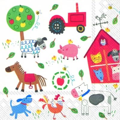 Lunch Servietten MY LITTLE FARM,  Tiere - Kühe,  Tiere - Pferde,  Tiere - Katzen,  Everyday,  lunchservietten,  Trecker,  Schweine,  Pferde,  Hühner