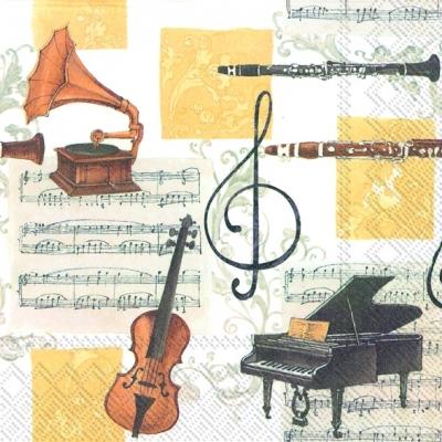 Everyday,  Sonstiges - Musik,  Everyday,  lunchservietten,  Instrumente,  Klavier,  Geige,  Grammophon