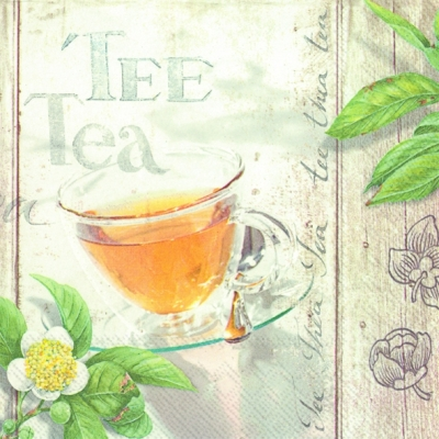 Lunch Servietten WELLNESS TEA,  Blumen -  Sonstige,  Sonstiges - Schriften,  Getränke Kaffee / Tee,  Everyday,  lunchservietten,  Tee,  Schriften,  Blumen
