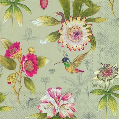 Lunch Servietten HUMMINGBIRD AND BLOSSOMS linen,  Blumen -  Sonstige,  Everyday,  lunchservietten,  Blumen,  Vögel