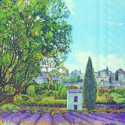 Lunch Servietten CHAMPS DE LAVANDE,  Regionen - Länder - Frankreich,  Blumen - Lavendel,  Everyday,  lunchservietten,  Häuser,  Lavendel,  Bäume