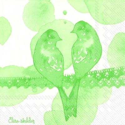 Lunch Servietten EVERLASTING LOVE light green,  Ereignisse - Liebe,  Tiere - Vögel,  Everyday,  lunchservietten,  Vögel,  Liebe,  grün