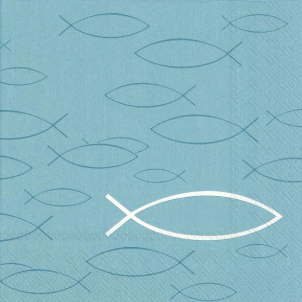 Lunch Servietten PEACEFUL FISH turquoise,  Tiere - Fische,  Everyday,  lunchservietten,  Fische