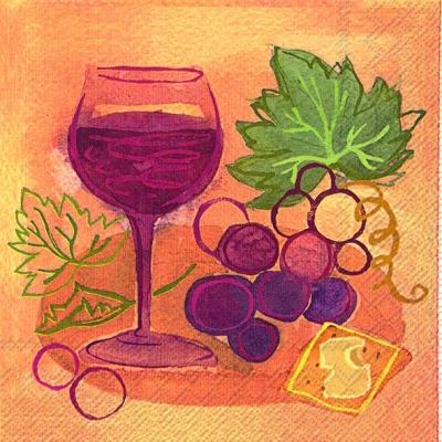 Lunch Servietten NAPA RED,  Getränke - Wein / Sekt,  Früchte - Weintrauben,  Everyday,  lunchservietten,  Weintrauben,  Wein,  Käse