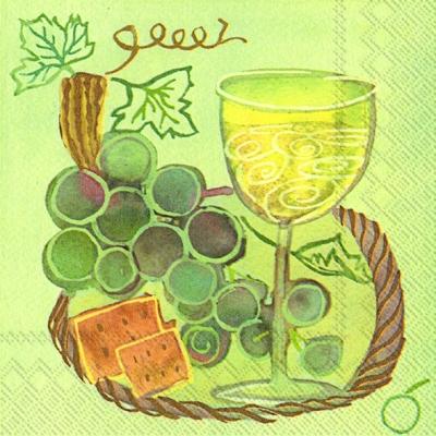 Servietten / Käse,  Essen - Käse,  Früchte - Weintrauben,  Getränke - Wein / Sekt,  Everyday,  lunchservietten,  Weintrauben,  Wein,  Käse