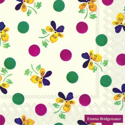 Servietten Blumenmotive,  Sonstiges - Muster,  Blumen - Stiefmütterchen,  Everyday,  lunchservietten,  Punkte,  Stiefmütterchen