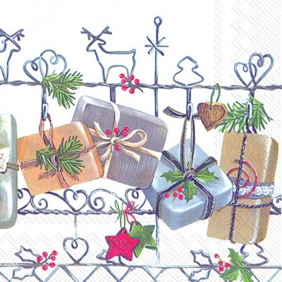 Servietten 33 x 33 cm,  Pflanzen - Ilex,  Weihnachten - Sterne,  Weihnachten,  lunchservietten,  Geschenke,  Herzen,  Sterne