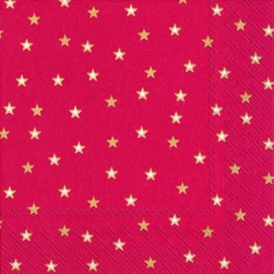 Lunch Servietten LITTLE STARS red gold,  Weihnachten - Sterne,  Weihnachten,  lunchservietten,  Sterne