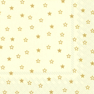 Lunch Servietten LITTLE STARS cream gold,  Weihnachten - Sterne,  Weihnachten,  lunchservietten,  Sterne