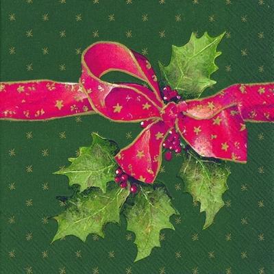 Lunch Servietten CHRISTMAS BOW green,  Pflanzen - Ilex,  Weihnachten - Sterne,  Weihnachten,  lunchservietten,  Schleife,  Sterne,  Ilex