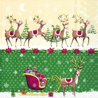 Lunch Servietten REINDEER SLEIGH green,  Tiere - Reh / Hirsch,  Winter - Schlitten,  Weihnachten - Weihnachtsstern,  Weihnachten,  lunchservietten,  Schneeflocken,  Hirsch,  Weihnachtsstern,  Tannenbaum