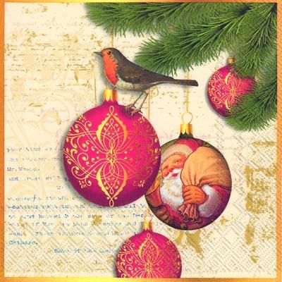 Servietten Tiermotive,  Tiere - Vögel,  Weihnachten - Baumschmuck,  Weihnachten,  lunchservietten,  Vögel,  Kugeln,  Zweige