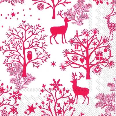 Lunch Servietten NORDIC PATTERN white red,  Tiere - Reh / Hirsch,  Weihnachten - Weihnachtsbaum,  Weihnachten,  lunchservietten,  Hirsch,  Wald,  rot