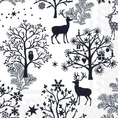 Lunch Servietten NORDIC PATTERN white black,  Tiere - Reh / Hirsch,  Weihnachten - Weihnachtsbaum,  Weihnachten,  lunchservietten,  Hirsch,  Wald,  schwarz