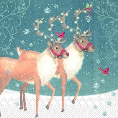 Servietten nach Motiven,  Tiere - Reh / Hirsch,  Weihnachten,  lunchservietten,  Hirsch,  Schnee,  Rentier