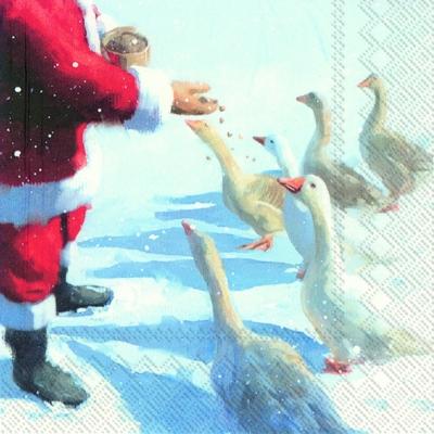 Lunch Servietten GOOSE AND SANTA,  Tiere -  Sonstige,  Weihnachten - Weihnachtsmann,  Weihnachten,  lunchservietten,  Weihnachtsmann,  Gänse