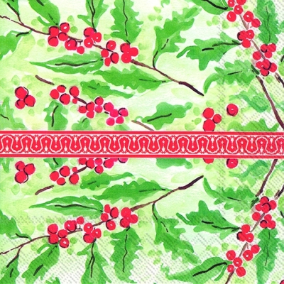 Servietten 33 x 33 cm,  Pflanzen - Ilex,  Everyday,  lunchservietten,  Ilex,  Beeren
