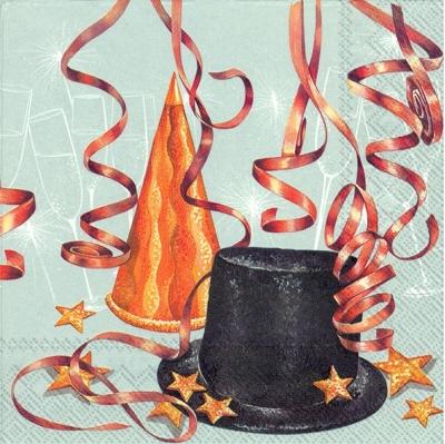 Servietten 33 x 33 cm,  Ereignisse - Feier,  Weihnachten,  lunchservietten,  Sterne,  Hut