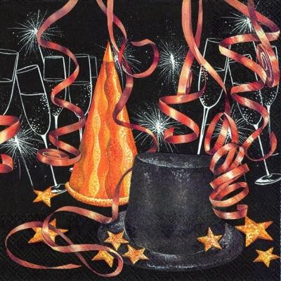 Servietten / Getränke,  Getränke - Wein / Sekt,  Ereignisse - Feier,  Weihnachten,  lunchservietten,  Hut,  Sterne,  Sekt