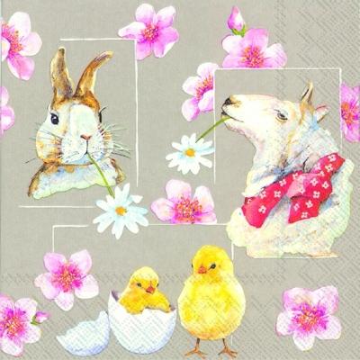 Motivservietten Gesamtübersicht,  Ostern - Hasen,  Ostern - Kücken,  Ostern,  lunchservietten,  Osterhasen,  Küken,  Schafe