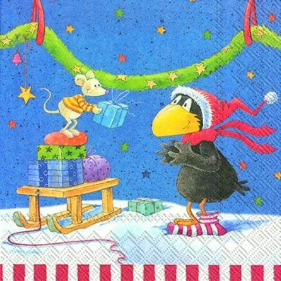 Lunch Servietten ALLES ADVENT,  Winter - Schlitten,  Winter - Schnee,  Weihnachten - Sterne,  Weihnachten,  lunchservietten,  Geschenke,  Raben,  Sterne,  Maus