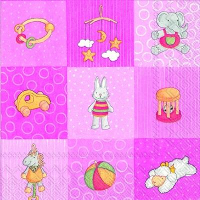 Lunch Servietten BABIES TOYS rose,  Spielsachen - Stofftiere,  Ereignisse - Geburt,  Everyday,  lunchservietten,  Geburt,  Baby,  Spielzeug