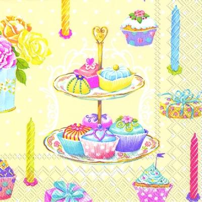 Servietten,  Essen - Kuchen / Keks,  Ereignisse - Geburtstag,  Everyday,  lunchservietten,  Geburtstag,  Kuchen,  Muffins