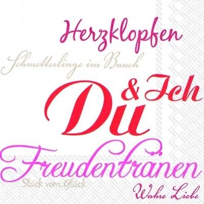 Lunch Servietten DU UND ICH white red,  Sonstiges - Schriften,  Ereignisse - Liebe,  Everyday,  lunchservietten,  Schriften,  Liebe